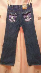 バックにドクロ刺繍ブーツカットデニム130ジーンズ