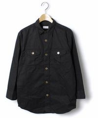 □EDIFICE/エディフィス ミリタリー 7分袖シャツ/黒/メンズ/S(38)