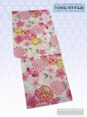 【和の志】女性用浴衣◇クリーム系・古典金魚柄◇KWF-652-24