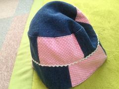 パッチワーク風帽子☆ピンク