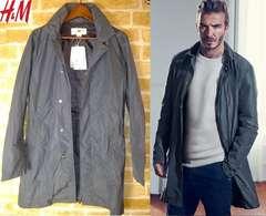 新品 ベッカム着用同型 薄手ロングコート ジャケット チェスター グレー S メンズ