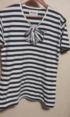 ピンクハウス 半袖Tシャツ 白黒 縞柄