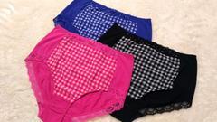 3Lショーツ3枚セット☆チェック柄3色★ピンクブラックブルー新品
