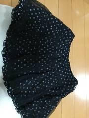 ドット柄チュールミニスカート☆黒☆キュロット☆レース