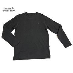 ルシアンペラフィネメンズスカル刺繍鹿の子長袖TシャツM黒lu