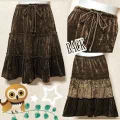 モバオクで買える「【新品】クラッシュベロア素材ティアードスカート」の画像です。価格は600円になります。