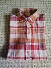 新品チェックTシャツ赤系しわ加工