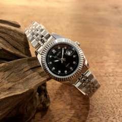 即決・送料無料!ロレックス・デイトジャストタイプ レディース腕時計・ブラック×シルバー