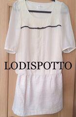 LODISPOTTO【美品】ツイードシフォンドッキングワンピース Pink