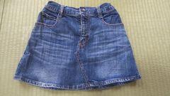 ボックス型☆ミニ丈ジーンズ地リボン刺繍スカート☆中古☆150女の子