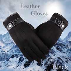 手袋 メンズ 革手袋 スエードレザー スマホ手袋 ブラック