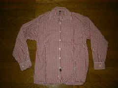 SILASサイラスチェックシャツM赤白系長袖薄手ギンガム