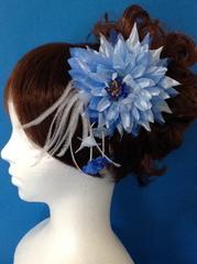 花簪クールビューティ青い花の髪飾り/成人式・卒業式