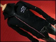 ライン使い刺繍ミリタリーシャツ/ブラック/M