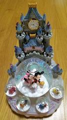 ディズニー シンデレラ城 時計&オルゴール付きキラキラ置物