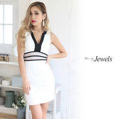 S ドレスワンピース Jewels バイカラー V シースルー 新品J16129