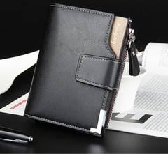 高品質レザー 財布二つ折り 札・小銭入れ カード・名刺 黒色