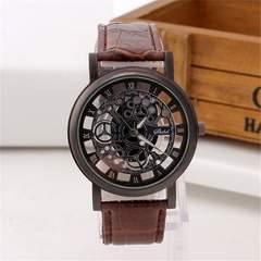 【送料込】腕時計 ブラック 文字盤 アンティーク風 (ブラウン)