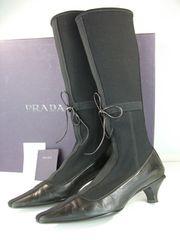 プラダレディースロングブーツ ブラック系