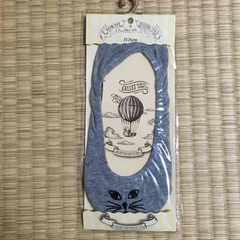 猫フェイス刺繍フットカバーソックス。ライトグレー