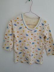 クリーム色に動物柄の長袖シャツ95