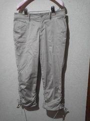 ハッシュアッシュ裾シャーリング&リボン クロップドパンツ《3(L)》
