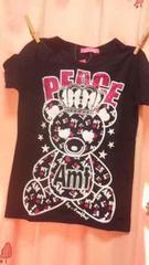 新品◆キラキララメプリント◆前後クマさん半袖Tシャツ◆120130
