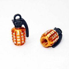ユニークな手榴弾型 エアバルブキャップ ゴールド 2個セット
