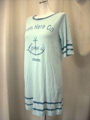 【wears】ブルー系半袖カットソーミニワンピースです