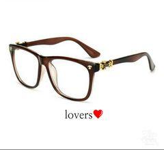 送料無料ブラウン茶クロムシルバークロス十字架めがねメガネ眼鏡