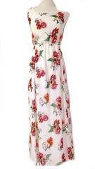 LATINAオフホワイトローズフラワーシフォンマキシワンピドレス