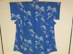 アンティーク 綸子 レトロ 小紋着物 ブルー 竹地模様松柄