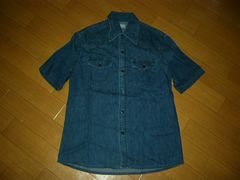 BLUE BLUEデニムシャツ1ウエスタン半袖インディゴHRMハリラン
