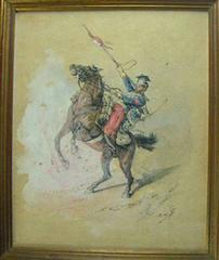 水彩画 作者不詳 騎馬軍人図 1888年 サインあり 真作保証