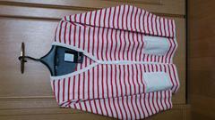 1スタ、激安90%オフ長袖シャツ、カーディガン(新品タグ、赤白、ボーダー、M)