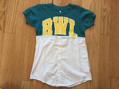 新品タグ付5184円ロデオクラウンズキッズチュニックワンピース半袖ロゴTシャツ