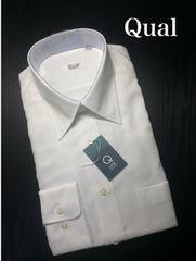 Qual メンズ 形態安定 長袖Yシャツ ドレスシャツ 39-74 白 002