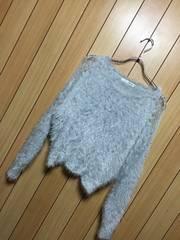 新品ロイヤルパーティー★肩透けレース×刺繍シャギーニット