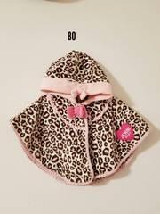ピンクのヒョウ柄ポンチョ(冬物)