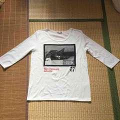 ロゴ&猫転写プリント五分袖Tシャツ。ホワイトLサイズ