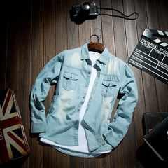 2色 メンズ シャツ デニムシャツ長袖 カジュアル M~3XL