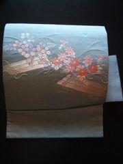 灰ブルー華刺繍*付帯二部式新同美品レタR