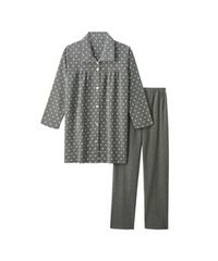★6L★裏起毛プチハート柄 前開きパジャマ上下セット☆チャコール杢★未着用
