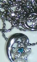 Pt900天然ダイヤモンド/天然ブルーダイヤモンドネックレス