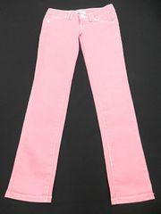 ピンク白ステッチかわいい色スキニーデニムパンツ新品