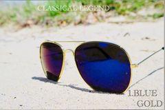 サングラス ティアドロップ ブルー ミラーレンズ UV400 ゴールド