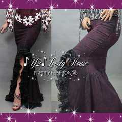 【W90】2L3L*大きいサイズ*マーメイド調フリフリシフォンテールカットデニムスカート*紫