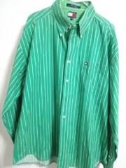 トミー グリーン ストライプシャツ 3XL位