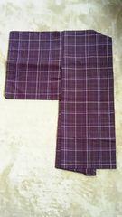 茄子紫色縞大島紬の羽織り仕付け糸つき未使用美品