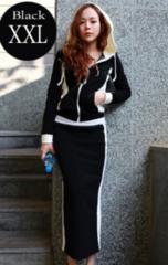 新品【6879】XXL)黒X白ジップパーカ&スカートのセット